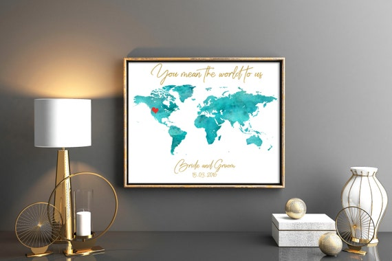 Blue wedding guestbook world map guest book map wedding guest etsy image 0 gumiabroncs Choice Image