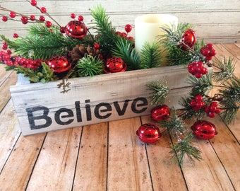 believe crate farmhouse decor christmas centerpiece farmhouse christmas mason jar crate christmas gift primitive christmas - Primitive Christmas Decor