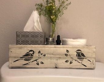 Back Of Toilet Decor, Bathroom Decor, Farmhouse Style Bathroom, Back Of  Stool, Storage Box, Mason Jar Crate, Rustic Wood Box, White Birds