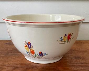 Kitchen Kraft Tulip Bowl 10 Inch Large Red Rimmed Mixing Nesting Vintage Homer Laughlin KK303 Oven Serve USA Farmhouse Decor Baking 1940's
