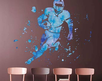 football player wall decal American football wall decal for Boy's Room cik1877