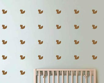 kik3011 Set 126 3 x 3 Fox Wall Decal Kids Wall Decoration Nursery Wall Decal Fox Decal Woodland Decal Forest Decal
