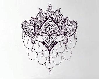 Lotus Wall Decal Sticker Buddhist symbol lotus flower