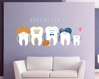 Teeth Wall Decal Tooth Wall Decal Family Dentist Dental Clinic Wall Decal  Orthodontist Dentist Wall Decal Dentist Office Wall Decor Kcik1533