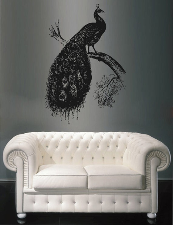 ramo di pavone Wall Decals Sticker camera da letto Sticker decorazione  pavone murale disegni pavone murale Bird Design Bird Wall Decor kik1651