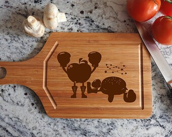 kikb583 Personalized Cutting Board funny cartoon fast food kitchen gift