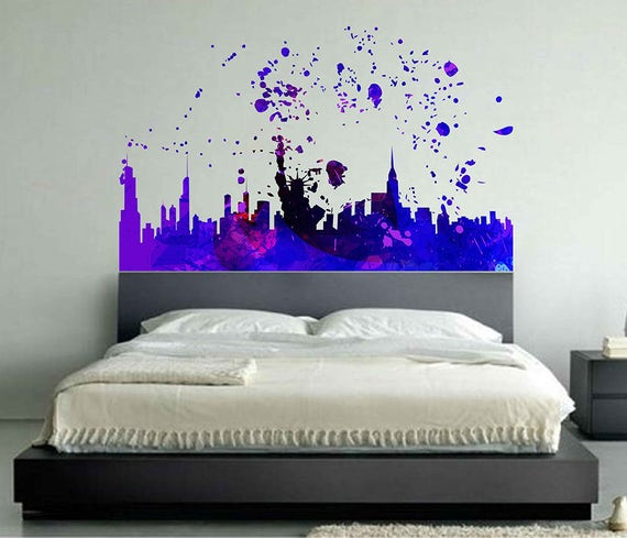 new york city wall decal new york manhattan skyline wall | etsy