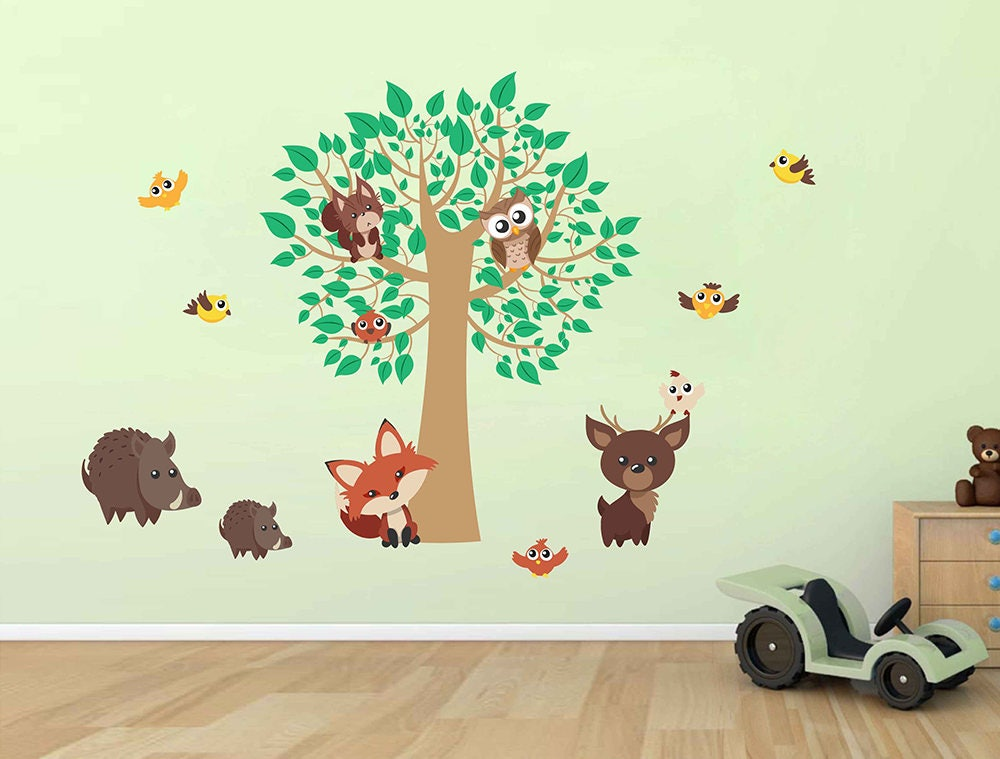 forest animals wall decals for nursery woodland animals wall   etsy