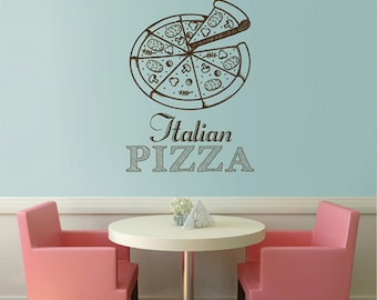 Pizza Decal Pizzeria Logo Vinyl Sticker Window Sign Cooking Art Decorations for Italian Restaurant Cafe Kitchen Dinning Decor kik2450