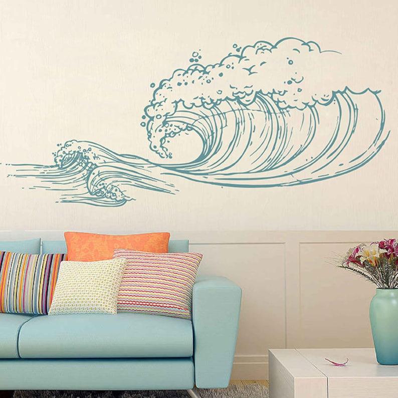 Stickers Voor Op De Muur.Golf Muur Stickers Ocean Wave Muur Stickers Ocean Beach Golven Etsy