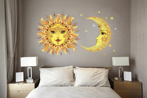 moon wall decals sun wall decal moon home decor sticker | etsy