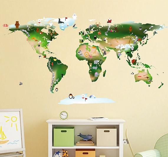 World Map Wall Decal Kids.World Map Animals Wall Decal Kids Map Wall Stickers World Map Etsy