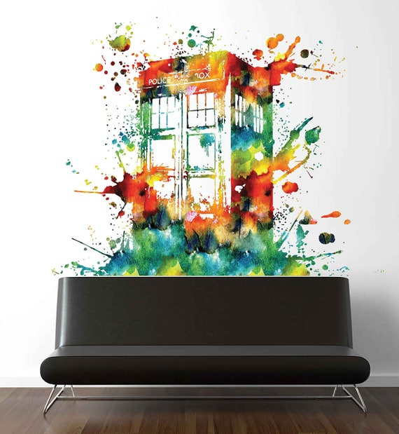 Colorful Tardis Vinyl Wall Decals Doctor Who Wall Decals   Etsy