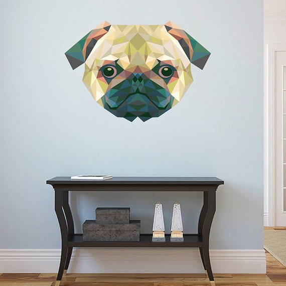I love my Pug mur art autocollants en vinyle néerlandais chinois chien pet Transfert Autocollant Murale