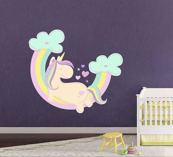 Unicorn cils et étoiles Wall Decal Stickers Idéal pour enfants chambre salle de jeux