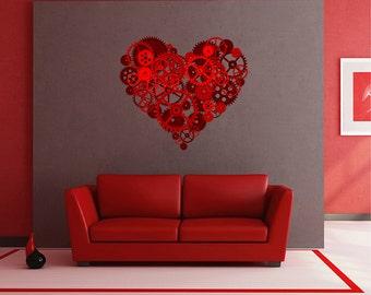 steampunk Heart Wall Decals Heart Wall Decals Mechanical heart Wall Decals Heart Wall Stickers Removable Wall Decals kcik1493