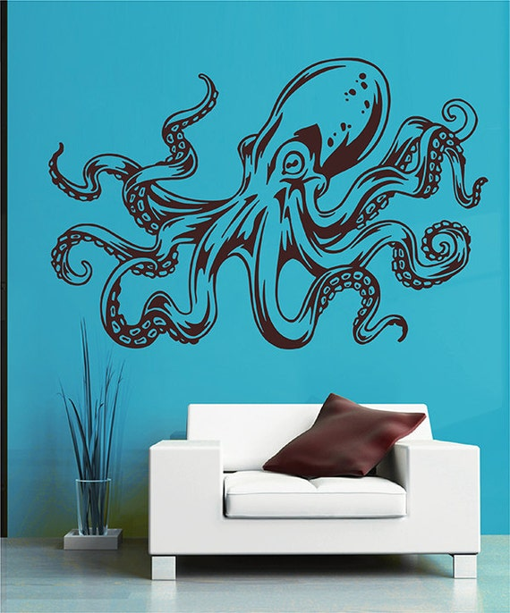 Octopus Wall Decal Kraken Decal Sea Animals Octopus Vinyl Wall Decals  Nautical Wall Decals Bedroom Bathroom Decor kik2877