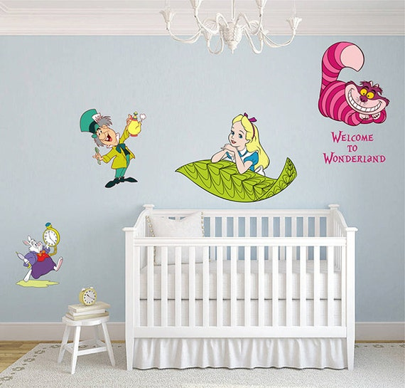 alice in wonderland wall decal alice wall decals cheshire cat | etsy