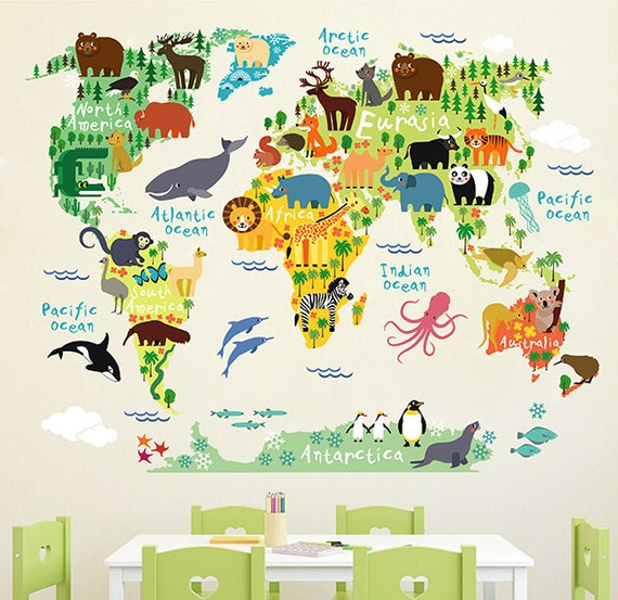 children's animals world map wall decal map wall stickers | etsy