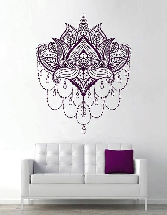 Lotus Wall Decal Sticker Buddhist Symbol Lotus Lower Sticker Etsy