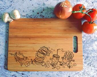 kikb581 Personalized Cutting Board funny cartoon fast food kitchen gift