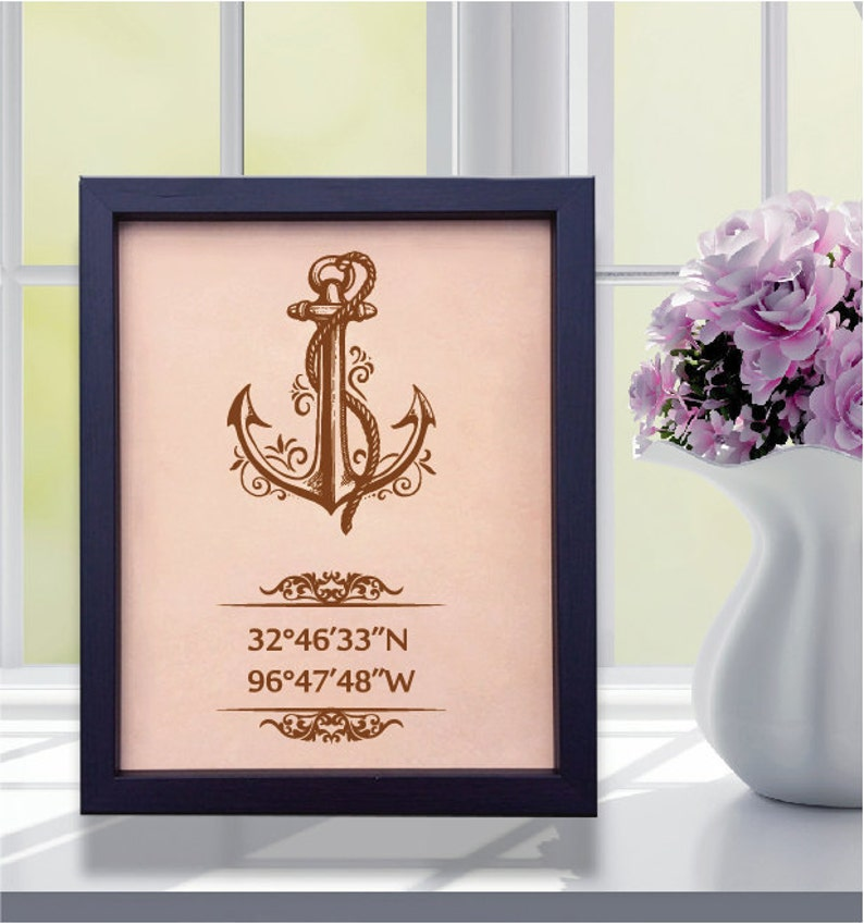Lik162 Leather Engraved Wedding 3rd anniversary personalized gift Latitude Longitude home places wedding date anchor symbol