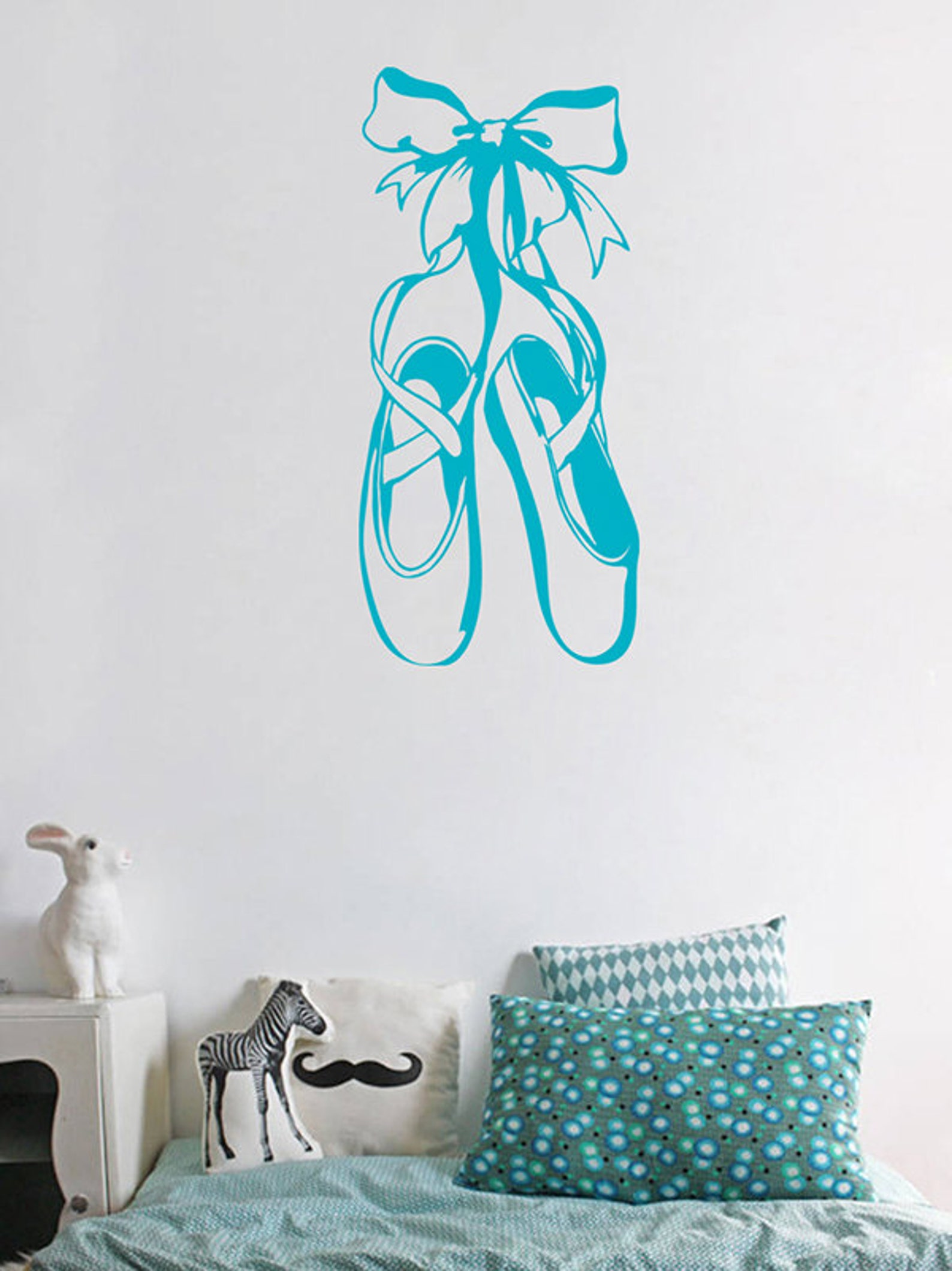 kik1282 wall decal sticker pointe shoes ballet dancer bedroom living room children
