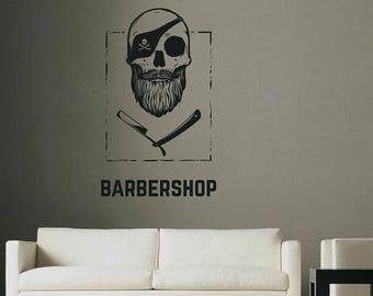 Barbershop wall decal sign logo mural Barbershop Logo Sticker Barber Shop Window Decal Barber's Logo Mural Hair Salon Wall Decals kik3234