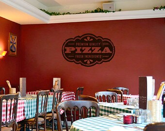 Pizza Decal Pizzeria Logo Vinyl Sticker Window Sign Cooking Art Decorations for Italian Restaurant Cafe Kitchen Dinning Decor kik1071