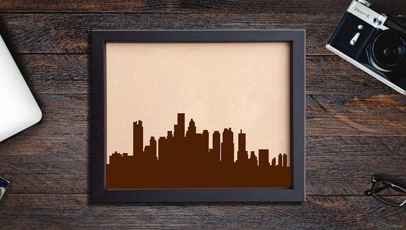 Lik190 Leather Engraved Boston city view Boston silhouette Honeymoon third anniversary personalized gift