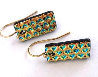 Gold Little Bit Earrings/ Modern Boho Chic / Gold / Bronze/ Aqua / Metallic Boho Chic / Christmas Gift for Her / Bestie gift / Mom gift