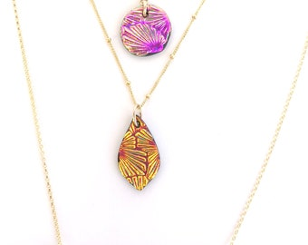 One & Done Necklace/ Layering Necklace/ Coin Leaf Bar Necklace / Gold/ Galaxy Blue Amethyst Orchid/ Christmas Gift/Mom Gift/ New Years Bling