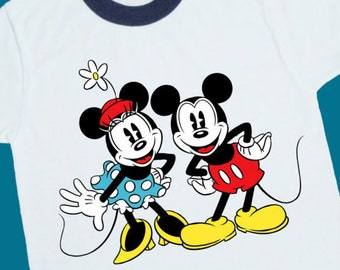 6e6305f95 Vintage Mickey Minnie Mouse Ringer Tee. Vintage Mickey Minnie Mouse Shirt. Vintage  Mickey Minnie Mouse T Shirt. Vintage Disney Shirt (25016)