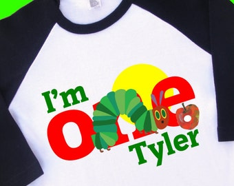 I Am One Hungry Caterpillar Birthday Shirt Personalized Raglan With Name Available For 1st 2nd T Tee 35033
