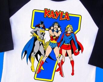 Female Super Heroes Birthday Shirt. Bat Girl, Wonder Woman, Super Girl, Personalized Raglan with Name & Age [Spider Girl, Cat Woman] (35200)