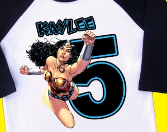 Wonder Woman Birthday Shirt. Personalized Raglan with Name & Age. [Super Girl, Spider Girl, Bat Girl, Cat Woman, Spiderman, Batman] (35186)