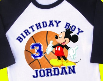 Mickey Mouse Basketball Birthday Shirt Personalized Raglan With Name Age 1st 2nd 3rd 4th 5th 6th 7th 8th 9th T 35188