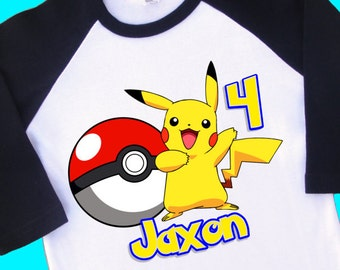 f79d99fb Pikachu Birthday Raglan Shirt. Pokemon Personalized Birthday Shirt with  Name and Age. 1st 2nd 3rd 4th 5th 6th 7th Birthday T Shirt. (35159)