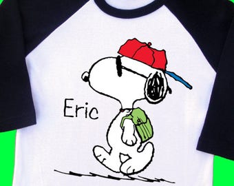Joe Cool Snoopy Back to School Shirt. Personalized Raglan with Name. 1st 2nd 3rd 4th 5th 6th Grade [Charlie Brown, Peanuts] (35233)