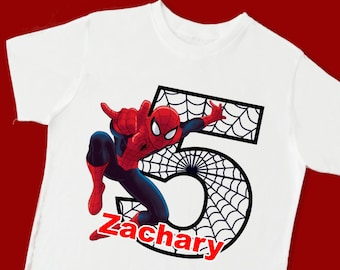 Spiderman Birthday Shirt Super Hero Personalized With Name And Age 1st 2nd 3rd 4th 5th 6th 7th 8th 9th 15053