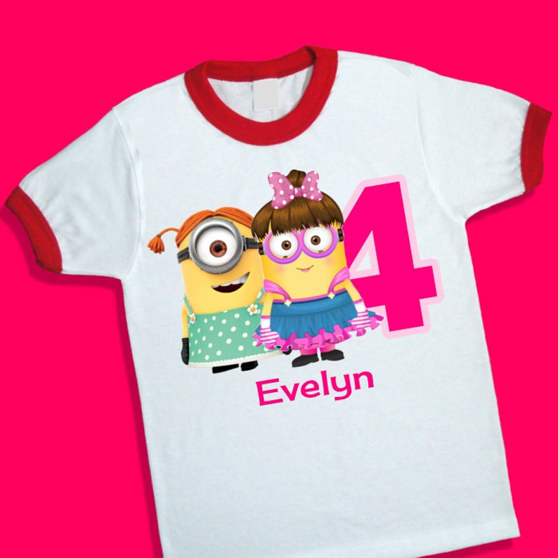 Girl Minions Birthday Ringer Tee Personalized Shirt