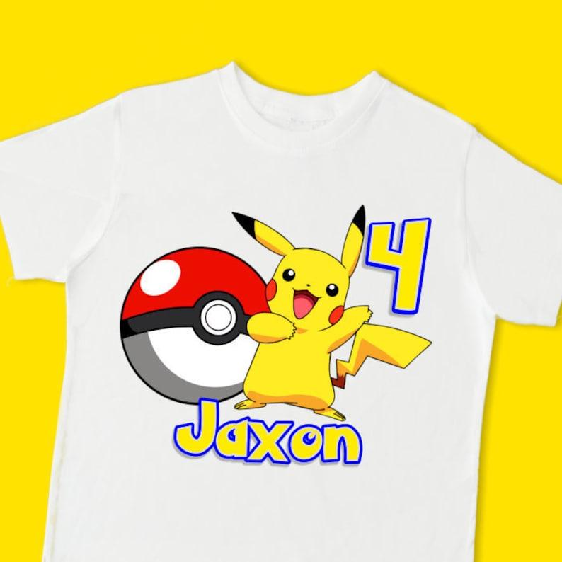 d0614565 Pikachu Birthday Tee. Pokemon Personalized Birthday T-shirt | Etsy