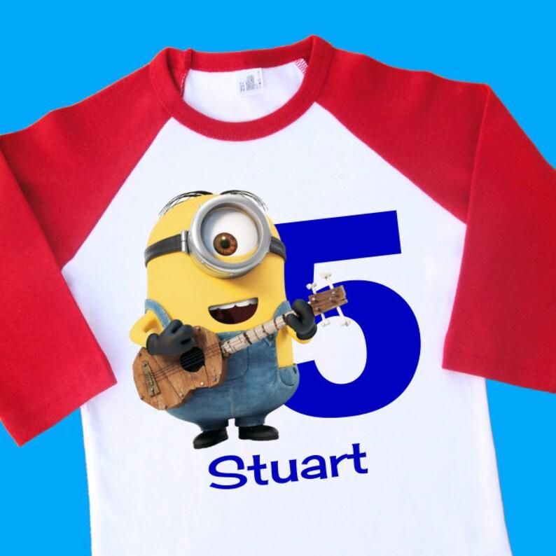 Stuart Minion Birthday Shirt Personalized Raglan With Name
