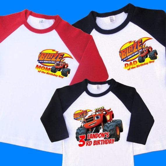 Blaze Birthday Shirts Set Of 3 Family Raglans 1