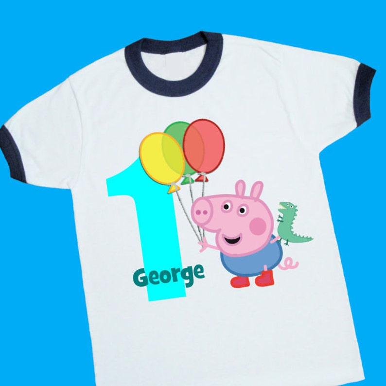 754f9387 George Pig Birthday Ringer Tee. Peppa Pig. Personalized | Etsy