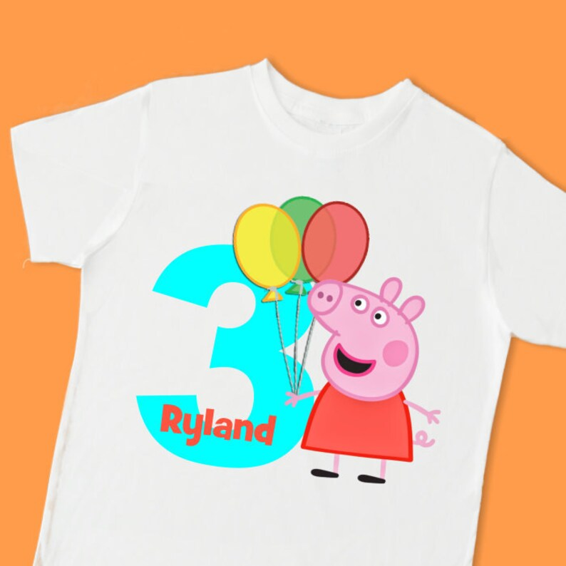 Peppa Pig Birthday Tee Personalized T Shirt With Name Age Or Number 1st 2nd 3rd 4th 5th 6th