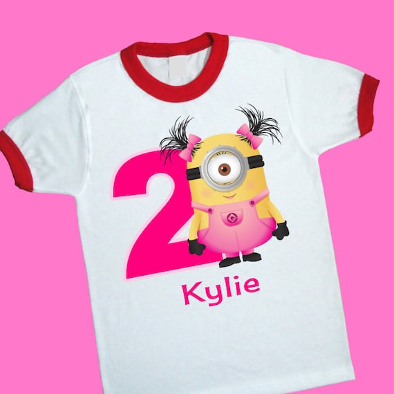 Girl Minion Birthday Ringer Tee Personalized Shirt