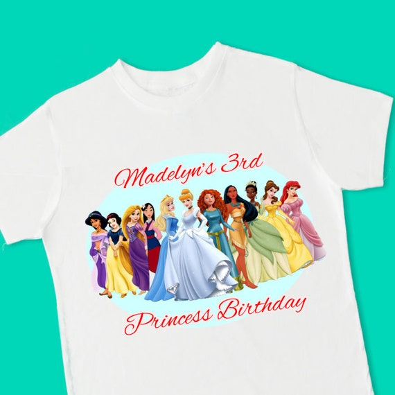Disney Princesses Birthday Tee Shirt Personalized With Name And Age 1st 2nd 3rd 4th 6th 7th 8th T Jersey 15062