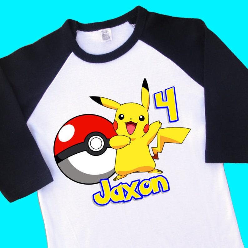 296ed28ec Pikachu Birthday Raglan Shirt. Pokemon Personalized Birthday   Etsy