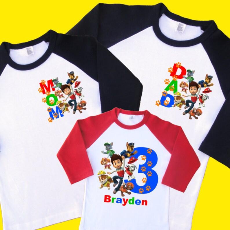 Paw Patrol Family Birthday Shirts Personalized
